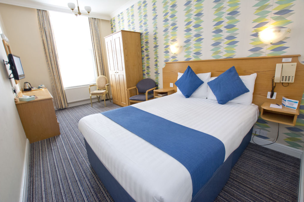 Double bedroom at the TLH Carlton Hotel